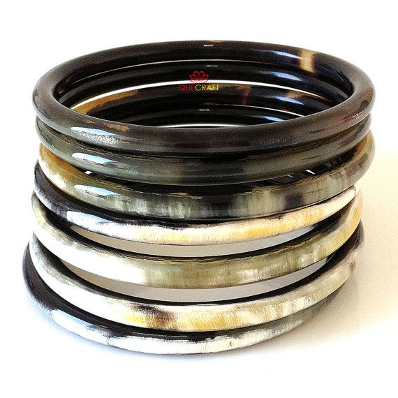 Organic Horn Bangle Bracelets Set Of 7 Handmade By Quecraft 38 80