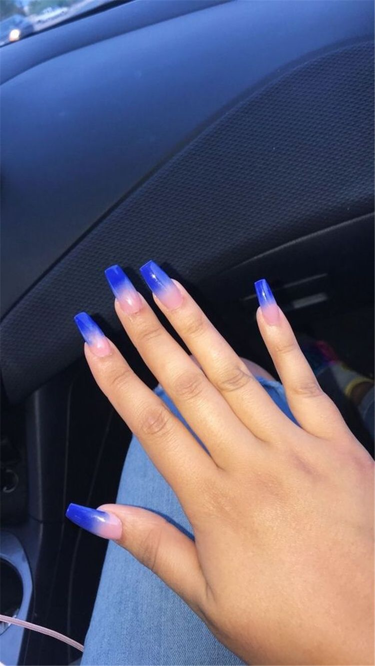 The Most Beautiful Ombre Acrylic Nails Designs You Ll Like Baby Boomer Coffin Nails Ombre Nails A In 2020 Blue Acrylic Nails Ombre Acrylic Nails Long Acrylic Nails