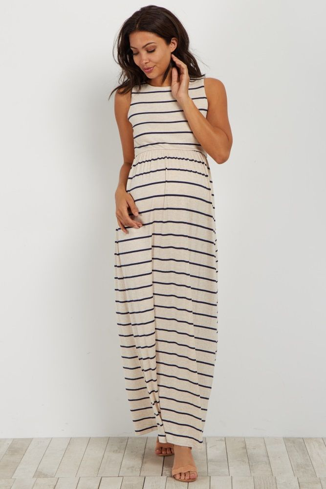 1e9801b087b973 This unique casual maternity maxi is a must have on your list for spring. A  striped adds flair to a sleeveless silhouette for a chic dress you can wear  for ...