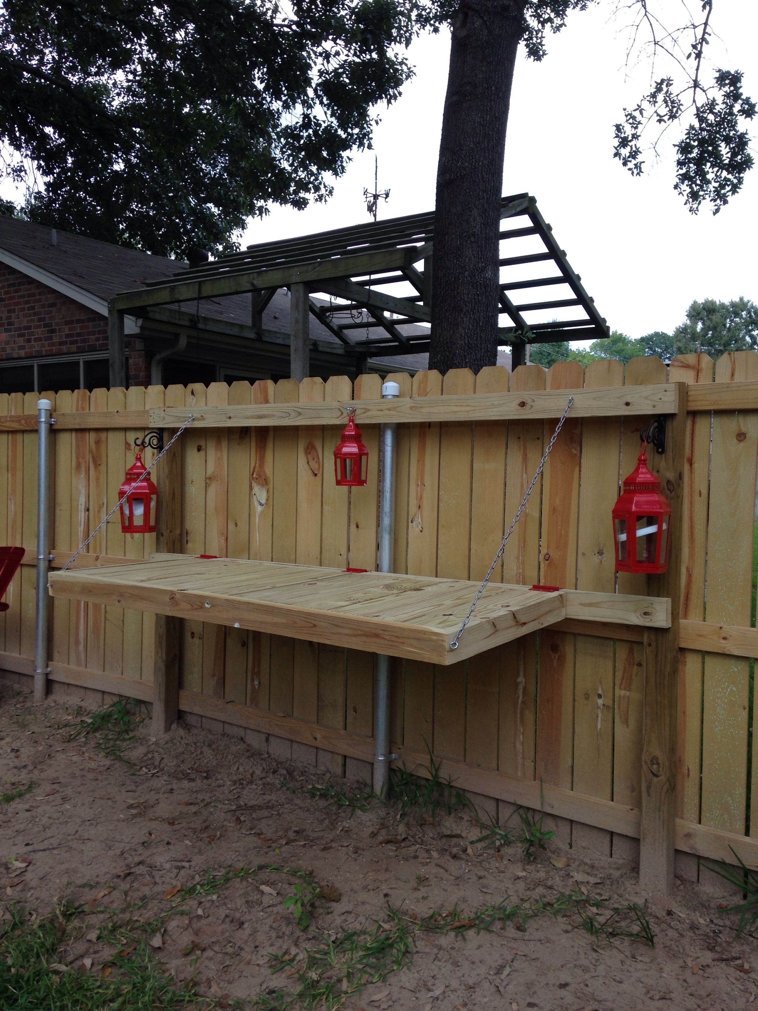 Fold Down Table Attached To Privacy Fence Build By My Husband Fold Down Table Building A Fence Small Outdoor Patios