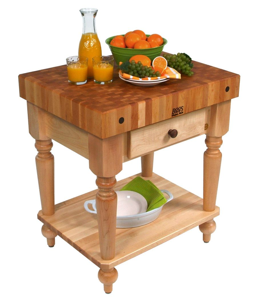 John Boos Rustica Butcher Block Table With Solid Shelf And Easy Glide  Drawer(s). End Grain Maple Butcher Block Top.
