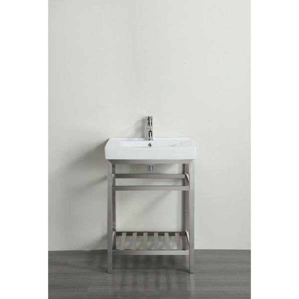 Picture Collection Website Eviva Stone inch Stainless Steel Bathroom Vanity with White Porcelain Top
