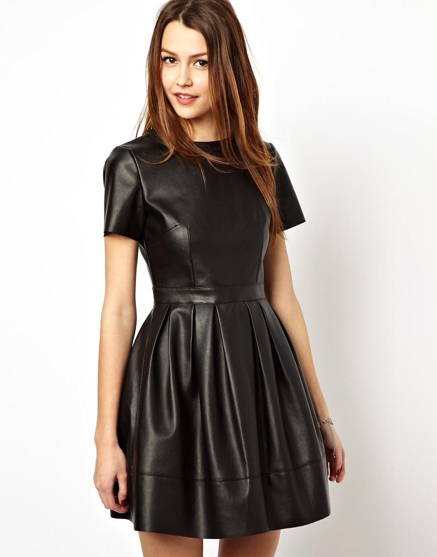 Cheap black leather skater dress