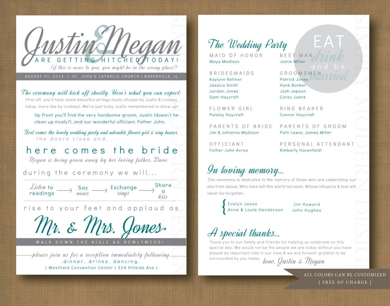 modern and fun double sided wedding program printable 28 00 via