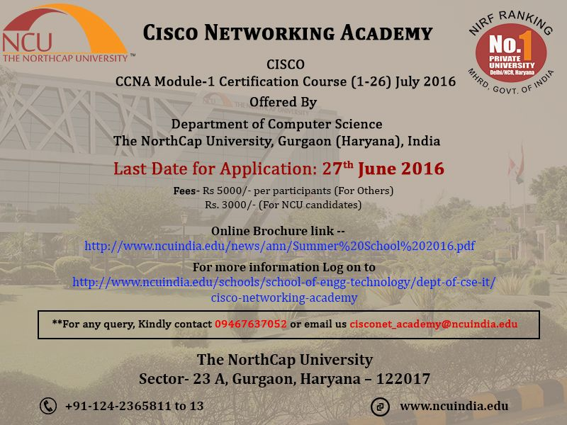 Cisco Ccna Module 1 Certification Course Is Offered By Department Of