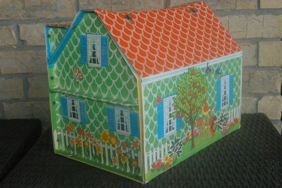 Vintage Doll House Classics Cape Cod Vinyl Portable Dollhouse With Plastic  Furniture By Mattel 1966
