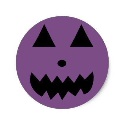 #Purple Pumkin Face Stickers Halloween - #Halloween happy halloween #festival #party #holiday