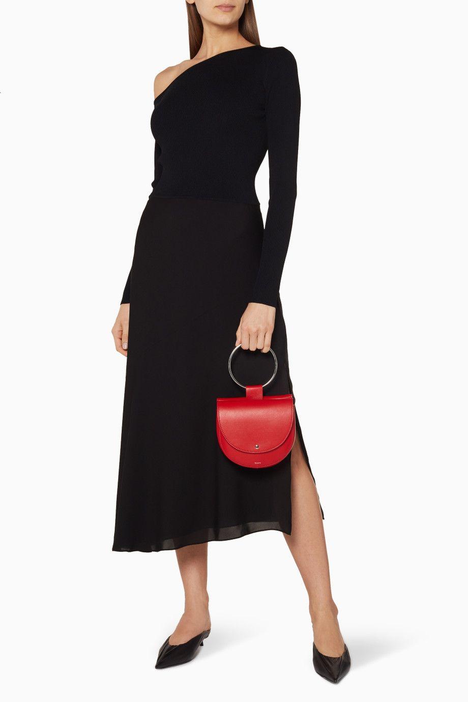 e98f5b60210 Shop Luxury Theory Black Asymmetric Sweater Dress