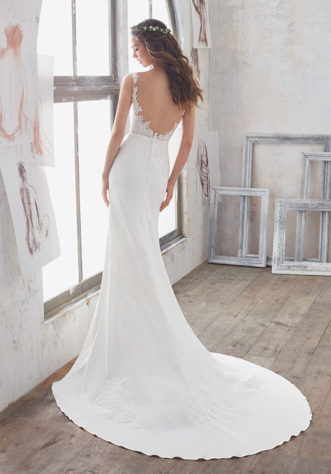 Silver pearl marisol white lace 1 - Morilee By Madeline Gardner Marisol 5503 This Chic Crepe Sheath Features Alen On