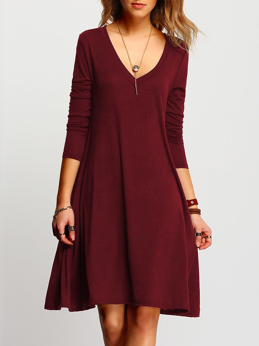 2e6be3bb322 Buy Deep V-Neck Plain Shift Dress online with cheap prices and discover  fashion Shift Dresses at Fashionmia.com.