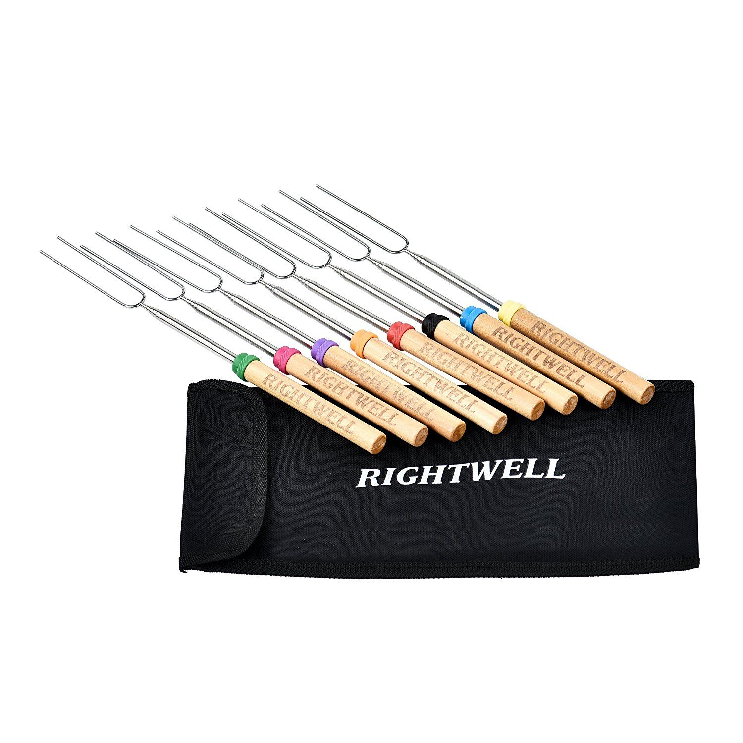 Rightwell Set of 8 Extendable Marshmallow Roasting Sticks 32 Inch ...