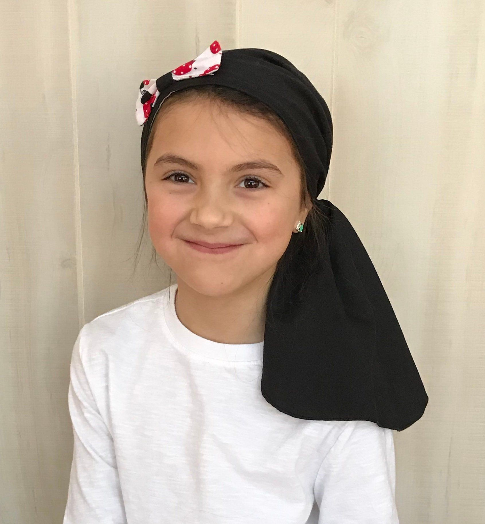 Children's Pre-Tied Head Scarves for children with #hairloss., Girl's #Chemo #Hat, #Cancer #black #HeadCover, #Alopecia #Headwear, #HeadWrap, #CancerGift, #pretied #headscarf #avascarf #lovemyIHC #childhoodcancer #alopeciakids #tieheadscarves