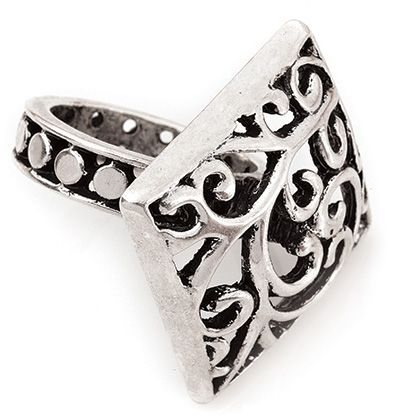 THE TIFTON SIZE 6 Item #: USML300406 Rich swirls and scroll work cover its square face and extend along the band in this stunning antique silver ring that's hard to miss. Your Price:$39.00