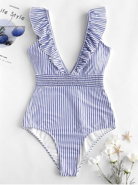 ZAFUL Ruffle Shirred Stripe Swimsuit LIGHT SKY BLUE ROSSO RED