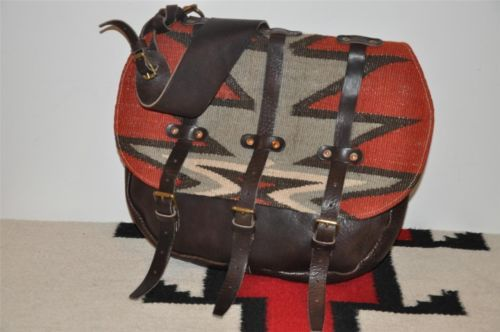 872dbd9f2c Ralph Lauren RRL Leather   Indian Blanket Wool Messenger Bag ...