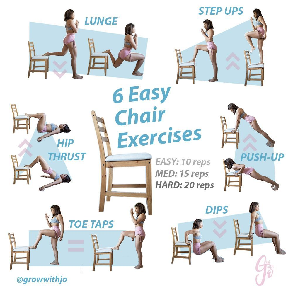 Using a simple household object like a chair to workout, really allows for #noexcuses Try each exerc...