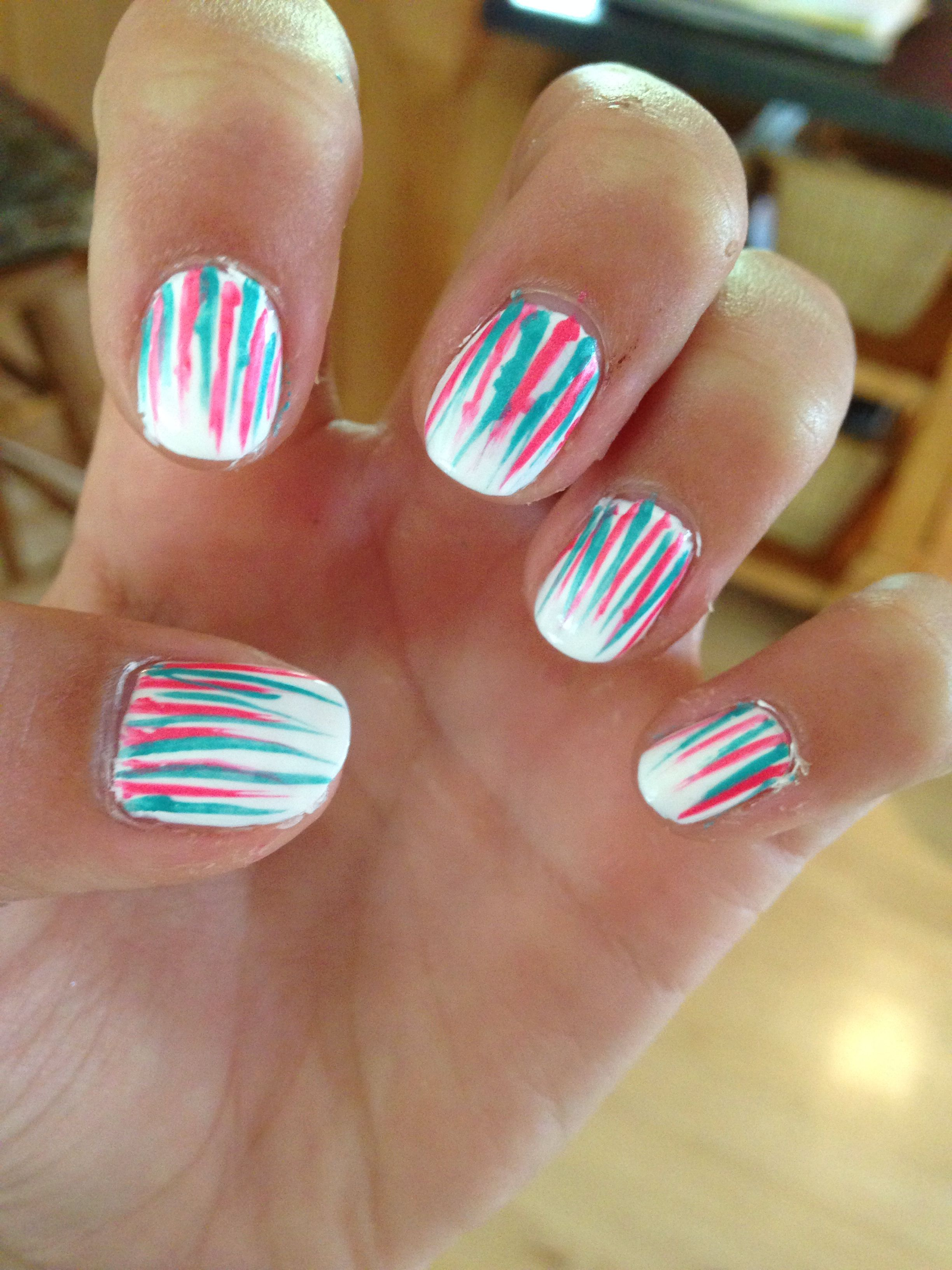 Easy nail art design just take 2 different colors of nail stripers ...