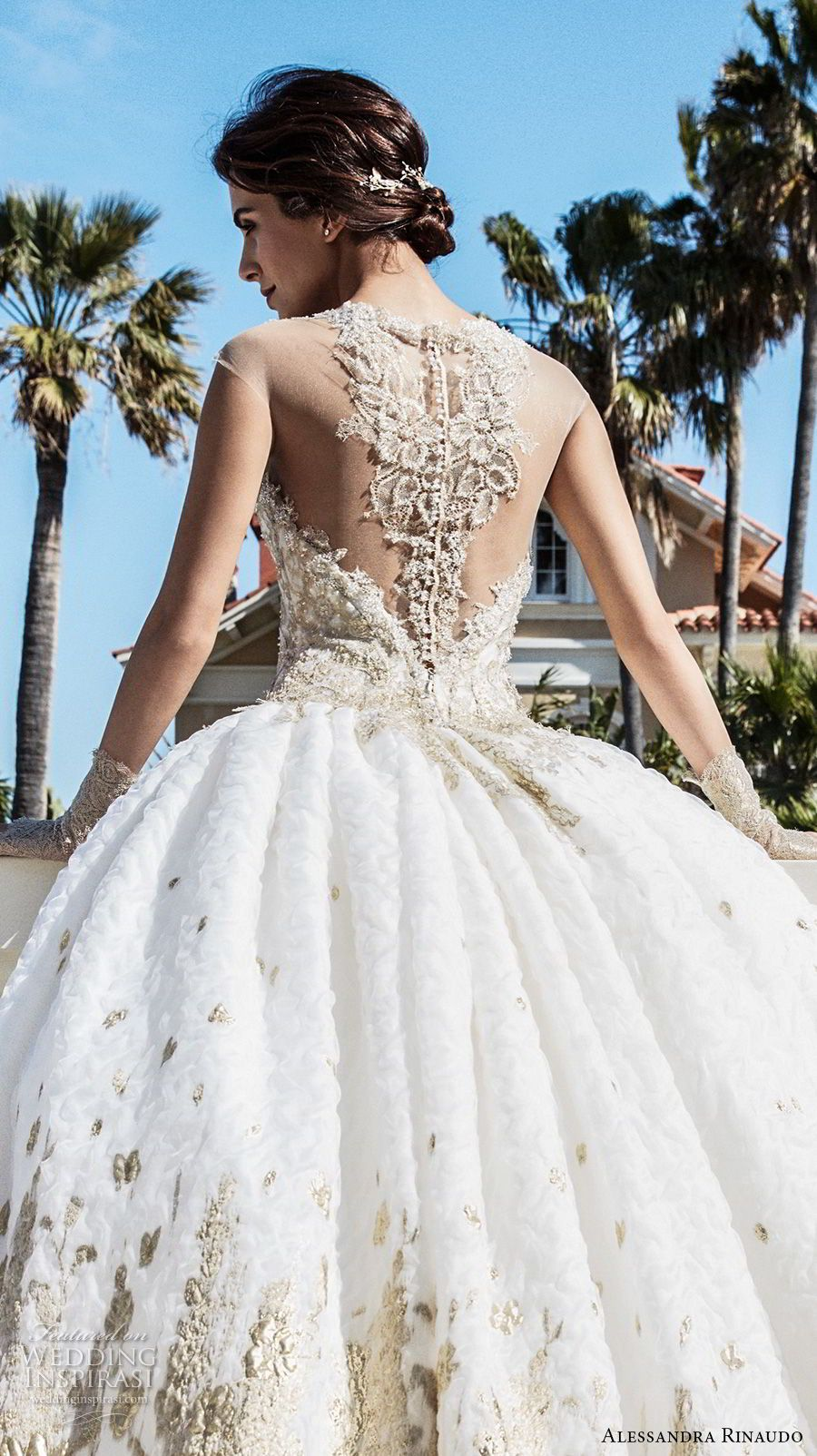 Alessandra Rinaudo 2018 Bridal Illusion Strapless Sweetheart Neckline Heavily Gold Embellished Bodice Princess Ball Gown Wedding Dress Sheer Rasor Back