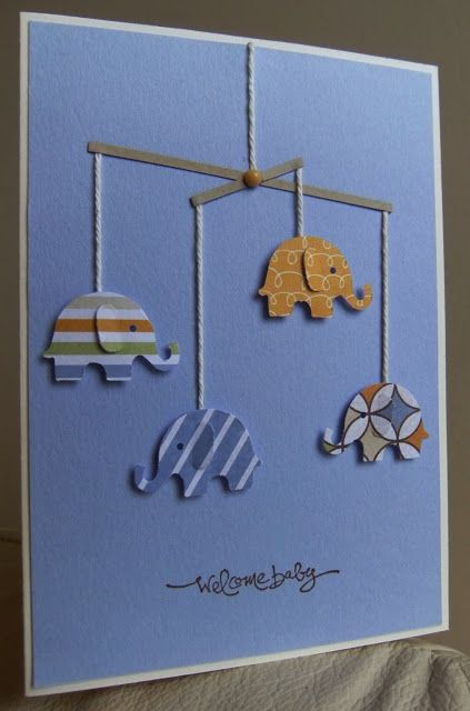 By Tilly Cute baby card using an elephant punch, string, paper