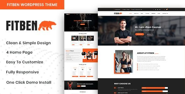 Fitben - Gym Fitness WordPress Theme  ⠀  Fitben – Gym Fitness, Personal Trainer one  Multi page Word...