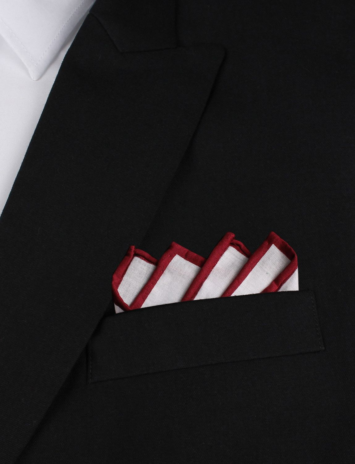 Cotton Mens Pocket Square-Solid White Cotton Pocket Square with Maroon Border