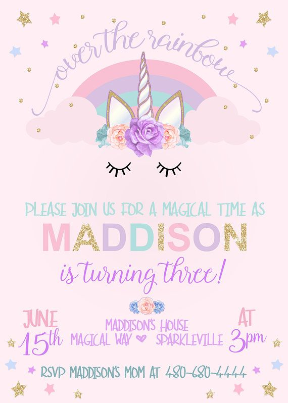 Printable Unicorn Invitation  Unicorn Birthday  Magical Unicorn Invite  Unicorn Party  Rainbow Invitation