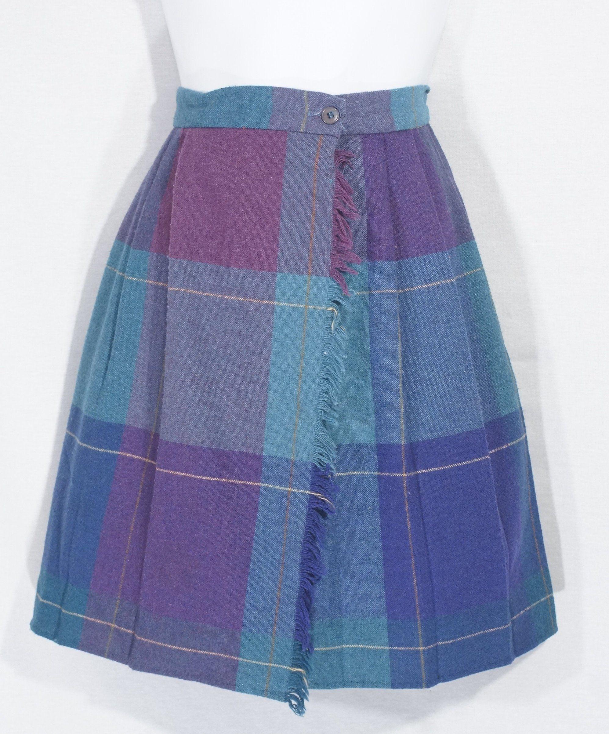 ec7917fbc Vintage Wool Mini Skirt 1970's Russ Girls Pleated Kilt Plaid Raw Fringe  Junior Tween Size Turquoise