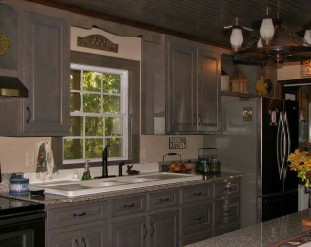 Best Love My Country Cabinets Knotty Alder Stained Grey With 640 x 480