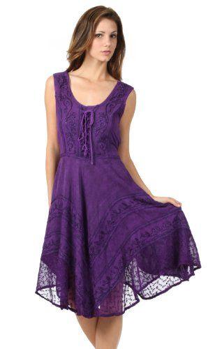 Sakkas Plus Size Embroidered Corset Style Bodice Crepe Ruffle Handkerchief Hem Dress $29.99 (54% OFF) + Free Shipping