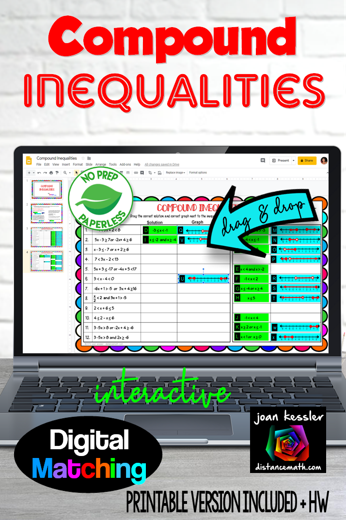 Compound Inequalities Digital Matching With Google Slides Distance Learning Compound Inequalities Inequality Inequalities Activities
