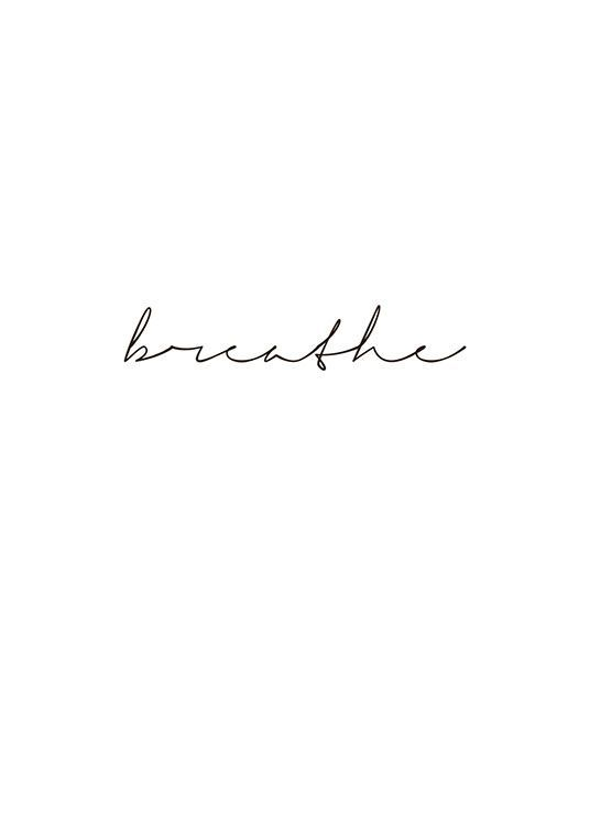 Print with the text, breathe, written in cursive | Writing ...