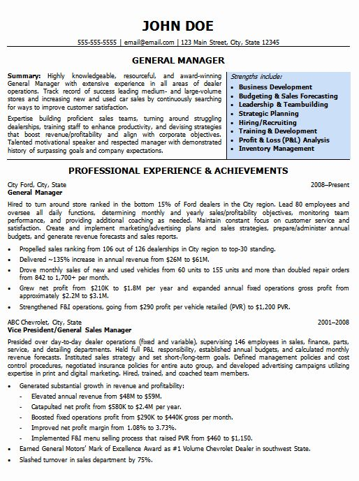 Luxury Automotive Resumes General Manager Resume Sample in