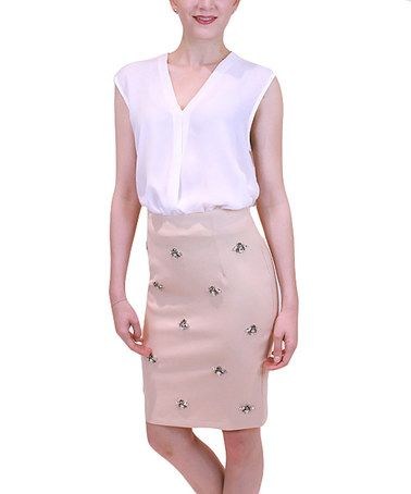 Love this Taupe Beaded Pencil Skirt on #zulily! #zulilyfinds