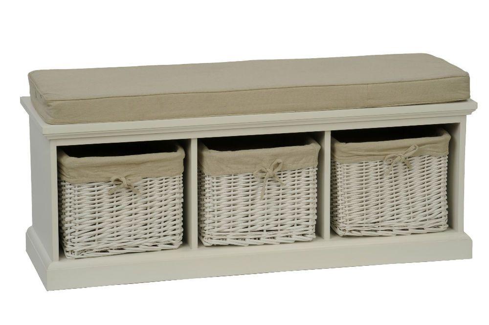 Tobs Furniture White Storage Bench 3 Basket Drawers Beige Cushion Seat Storage Bench