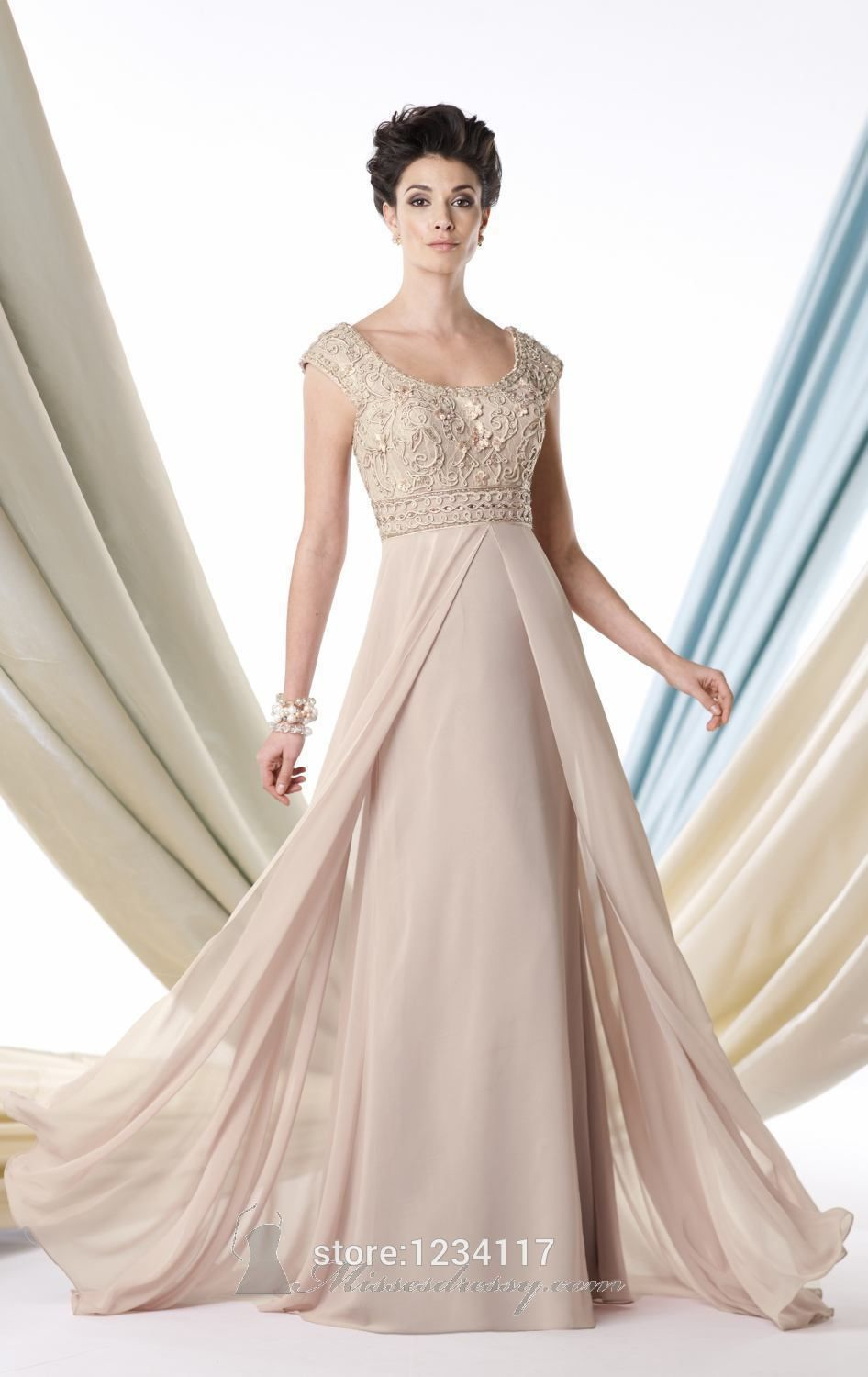 A-Line Cap Sleeves Lace Chiffon Mother of The Bride