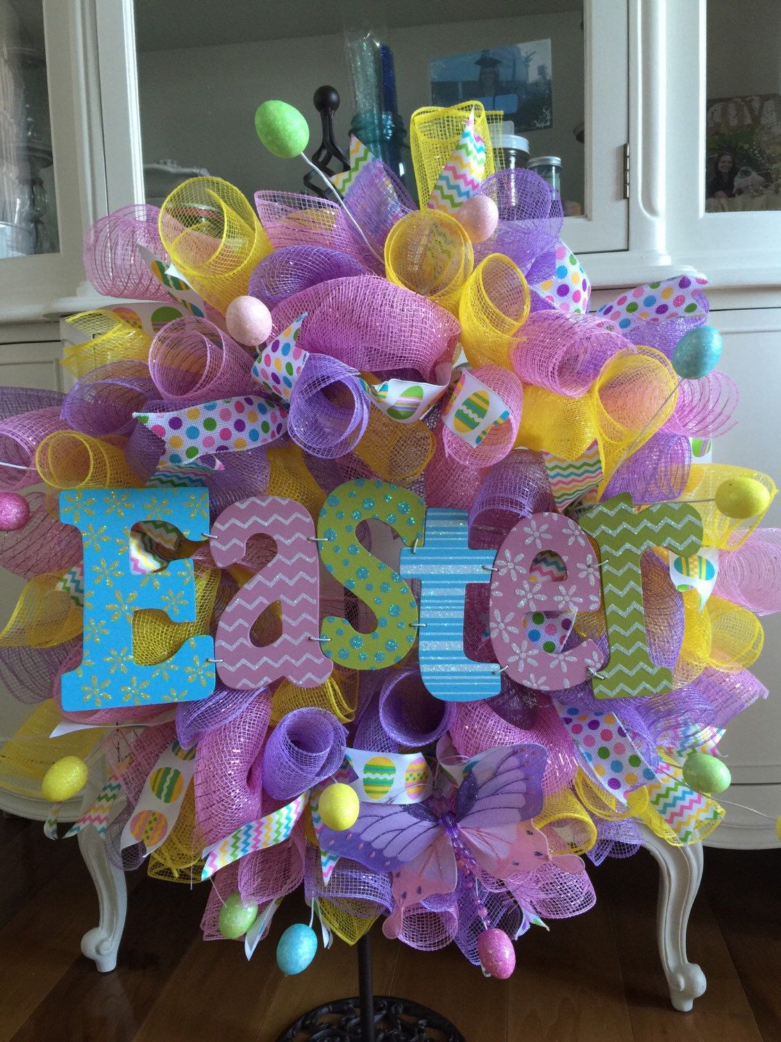 A personal favorite from my Etsy shop https://www.etsy.com/listing/225143608/deco-mesh-easter-wreath