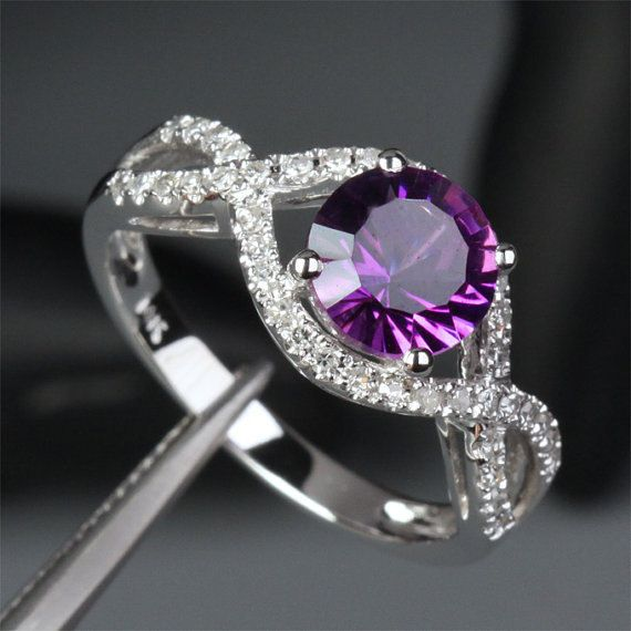 Real 14K White Gold Purple 6.5mm VS Amethyst Pave 0.40ct