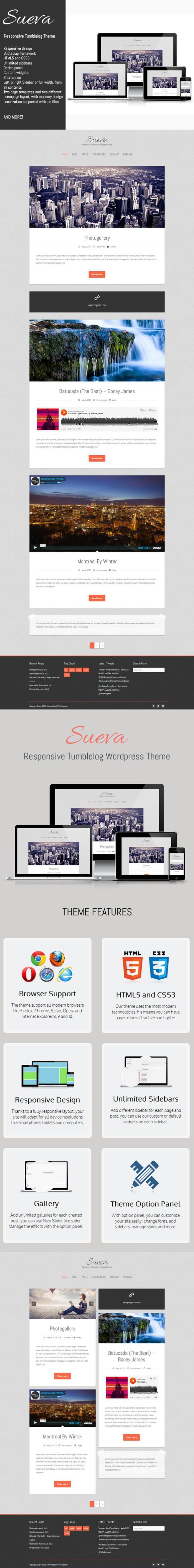 Sueva - Responsive Tumbelog Theme. Bootstrap Templates. $55.00 ...