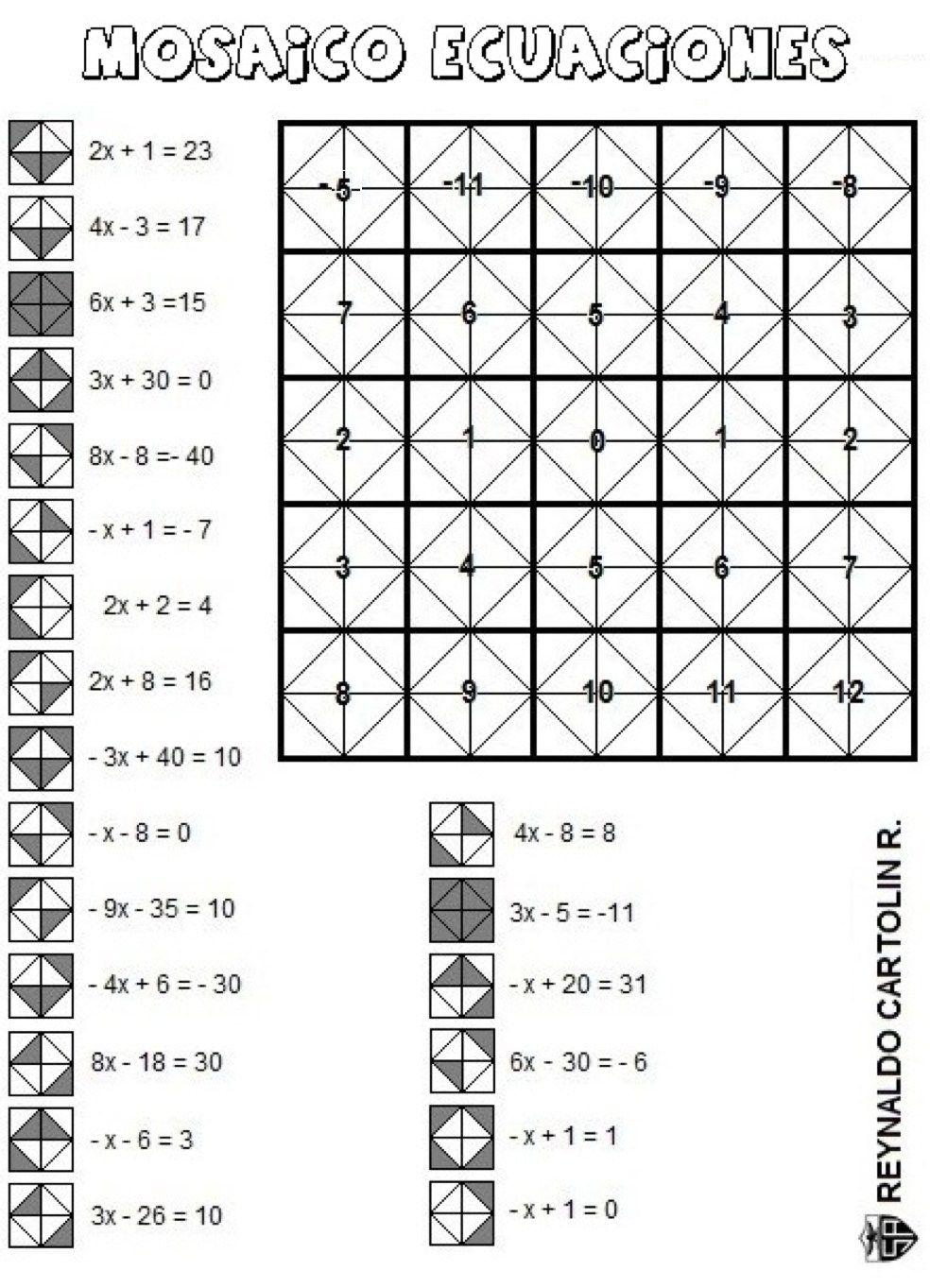 Mosaico ecuaciones Kids Math worksheets Algebra equations e