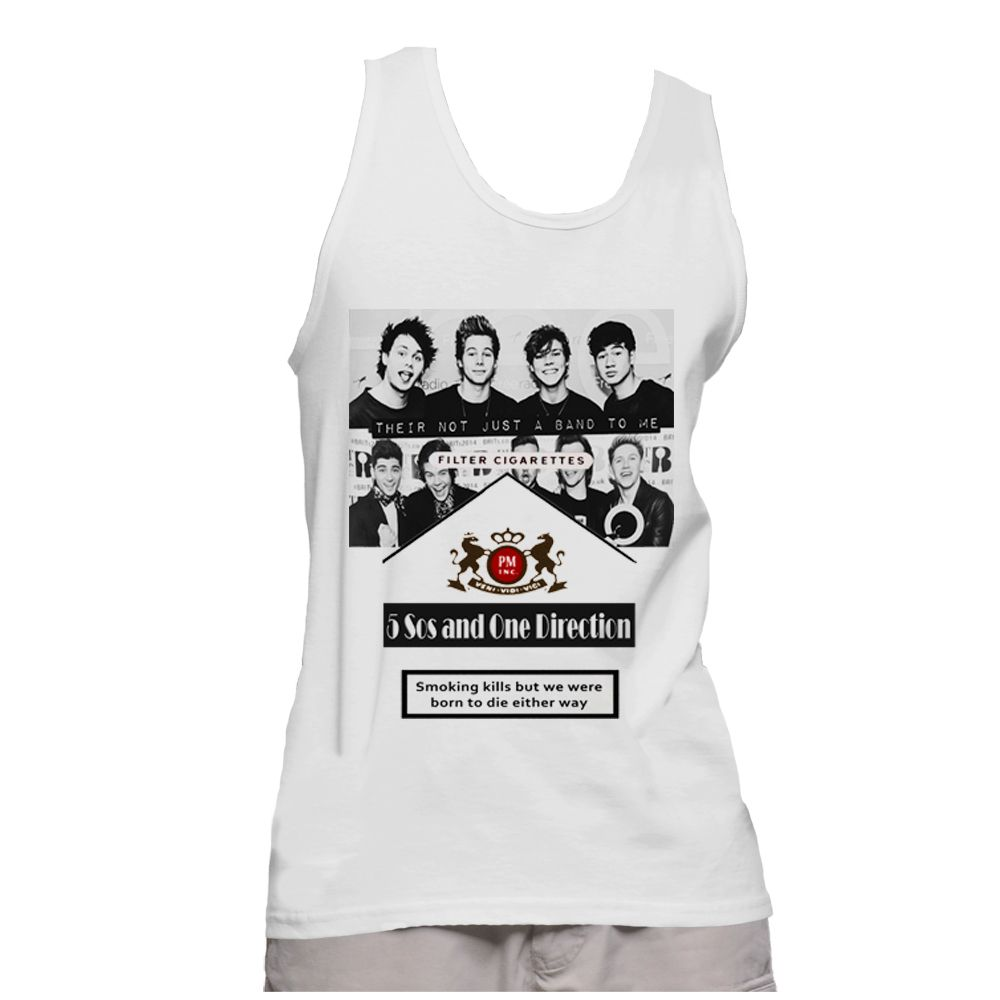 5 Sos and One Direction Cigarette - Tank Top Shirt - Size S,M,L,XL.2XL  More about this item  === Material > cotton 100% (little shrink after wash) === Collar > crew neck === Sleeve Length > short sleeve === Size & Measurement  Size S = chest (around) 36 inches. = clothing length 26 inches.  Size M = chest (around) 40 inches. = clothing length 28 inches.  Size L = chest (around) 43 inches. = clothing length 30 inches.  Size XL = chest (around) 46 inches. = clothing length 32 inches.  Size…
