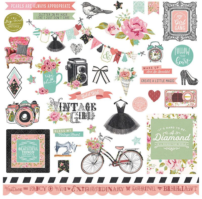Vintage Girl Photo Play Paper Co Girl Stickers Vintage Girls Scrapbook Kits