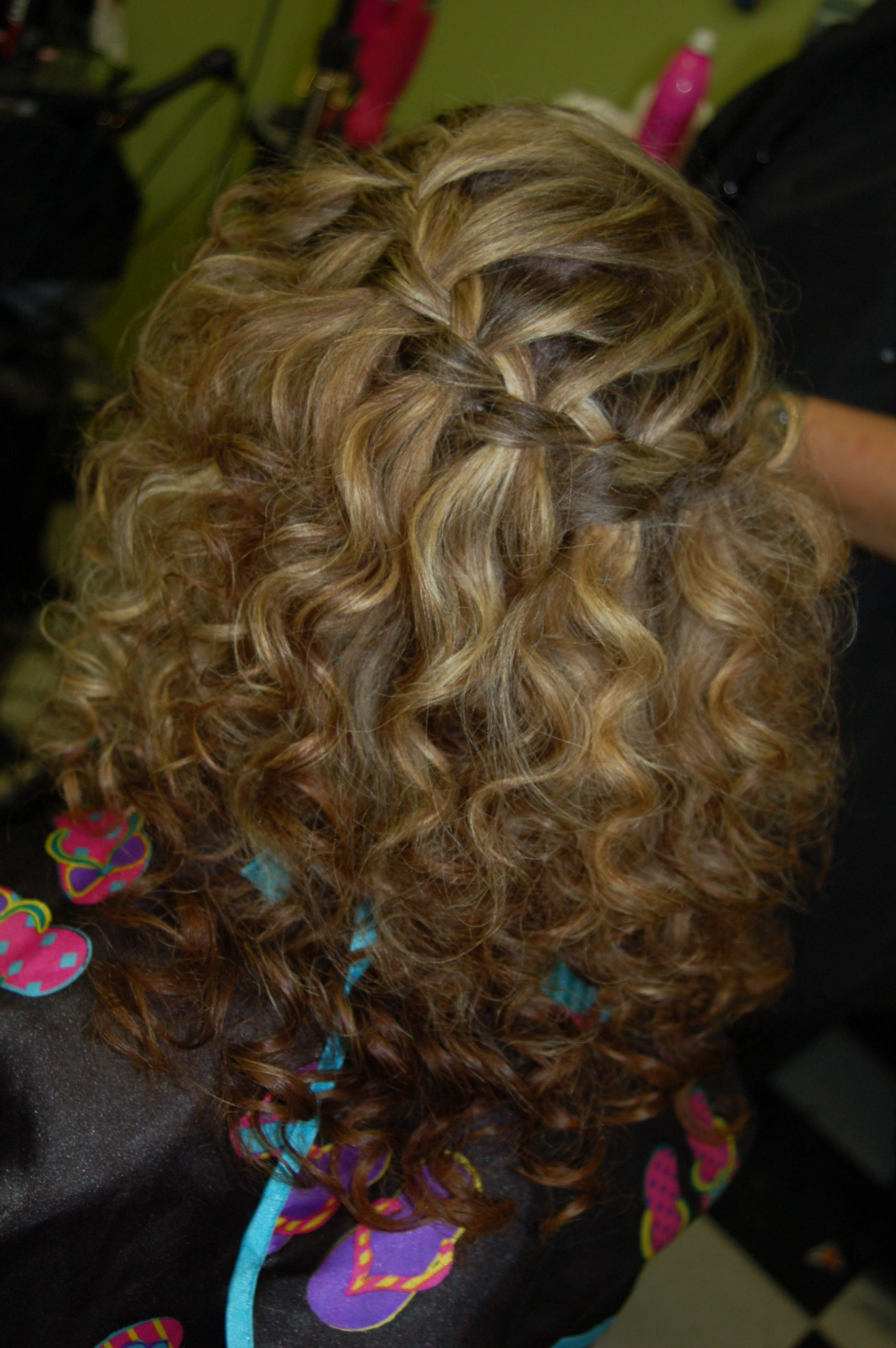 Bridal Hair Waterfall Braid With Spiral Curls By Robyn Lyons From Images Salon Covington Ga 10 19 2013 Hair Styles Spiral Curls Hair