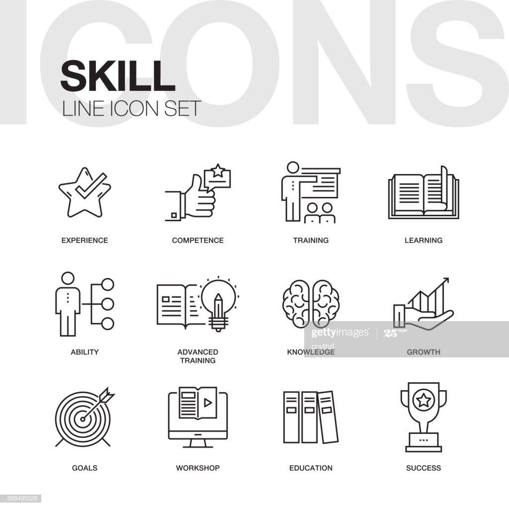 Skill Line Icon Set Line Icon Education Success Icon