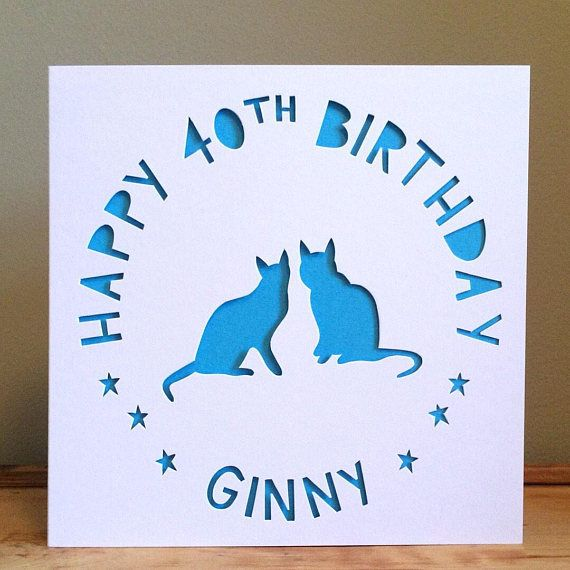 Cat card personalised card birthday card 40th card greeting cat card personalised card birthday card 40th card greeting card crazy cat lady card personalised birthday card hand cut card m4hsunfo