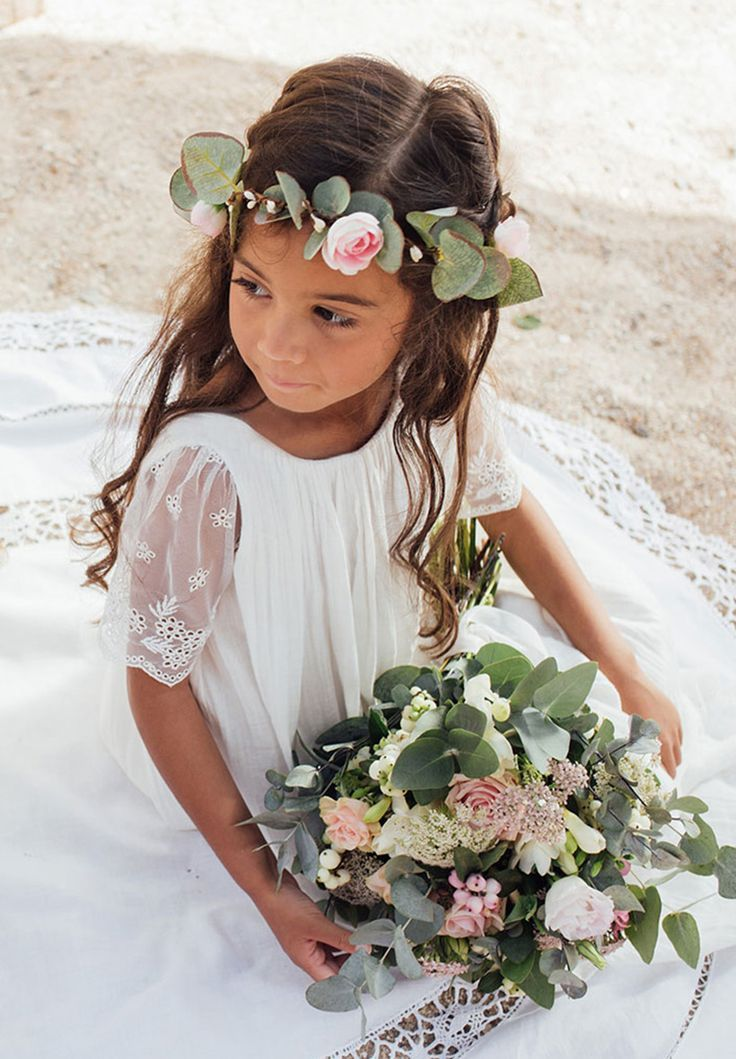 Robe de mariage Couronne avec feuillage deucalyptus pour