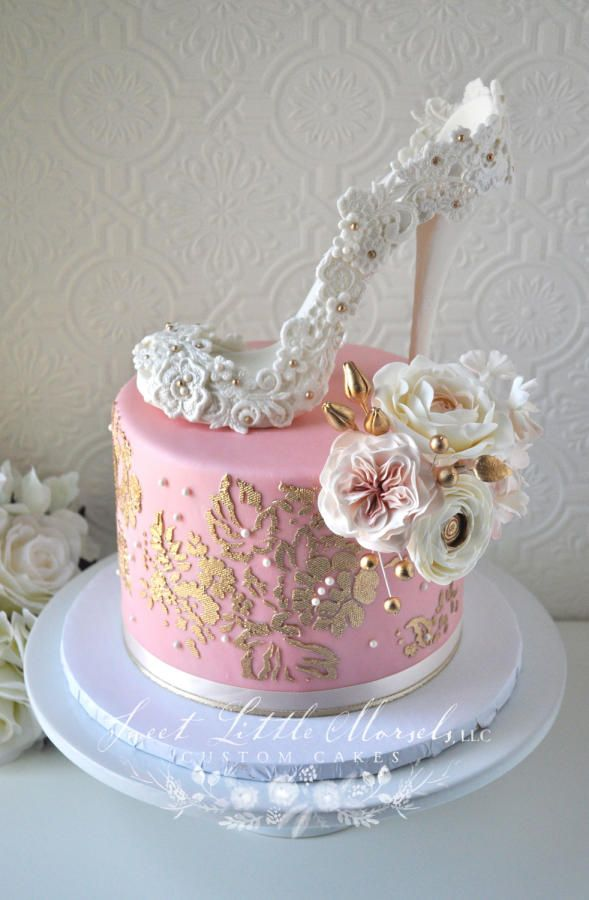 blush pink and gold bridal shower cake by stephanie