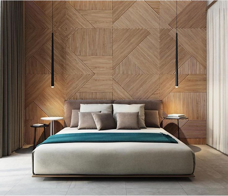 Modern Minimalistic Bedroom With Wooden Back Wall By Ukraine Based Firm Studiodenew Modern Bedroom Inspiration Remodel Bedroom Luxurious Bedrooms