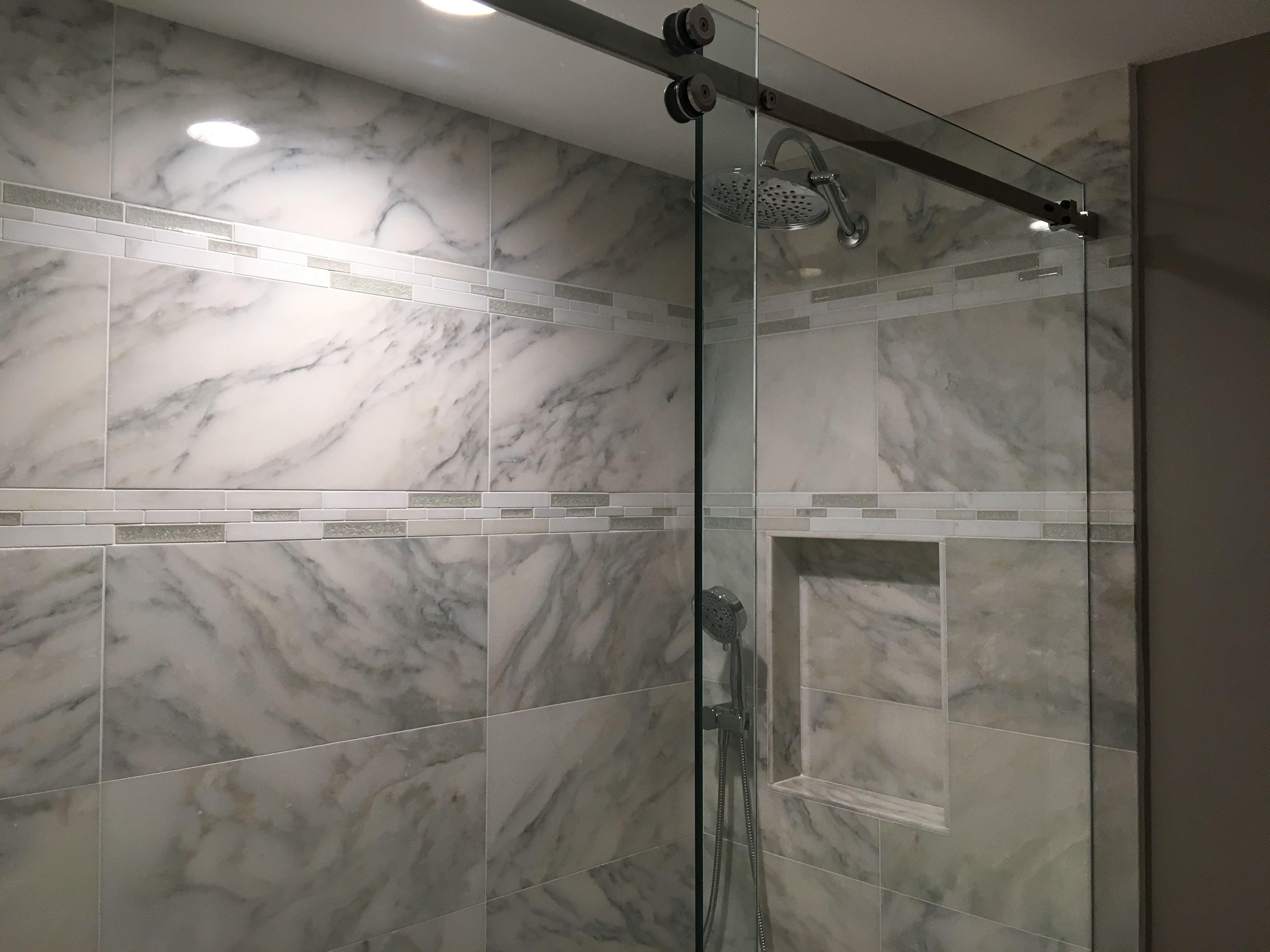 Serenity Series Frameless Sliding Shower Enclosure 3 8 Clear Gla Frameless Sliding Shower Doors Shower Sliding Glass Door Frameless Sliding Glass Shower Door
