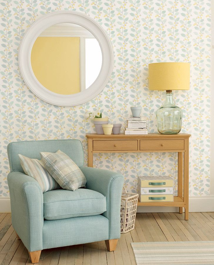 Interior Of Bedroom Wall Duck Egg Blue Bedroom Pictures Bedroom With Single Bed Bedroom Curtains Uk: Spring Trail Duck Egg Wallpaper Room Inspiration
