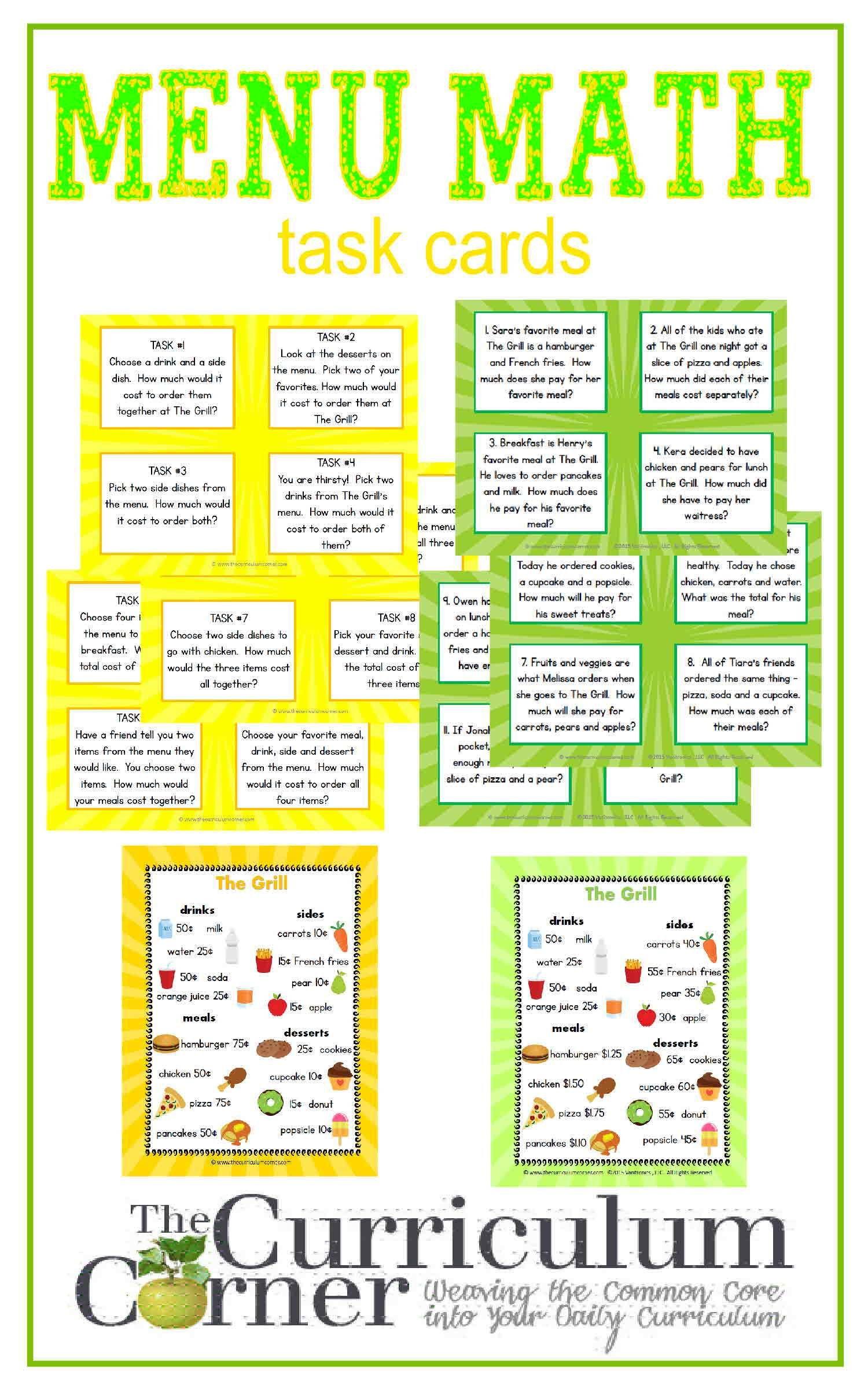 Menu Math | Math task cards, Curriculum and Maths
